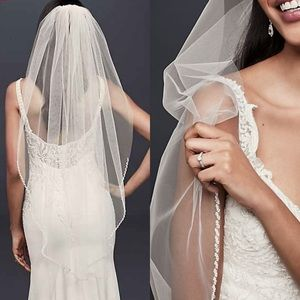David's Bridal Tulle Fingertip Veil w/ Pearl Edge
